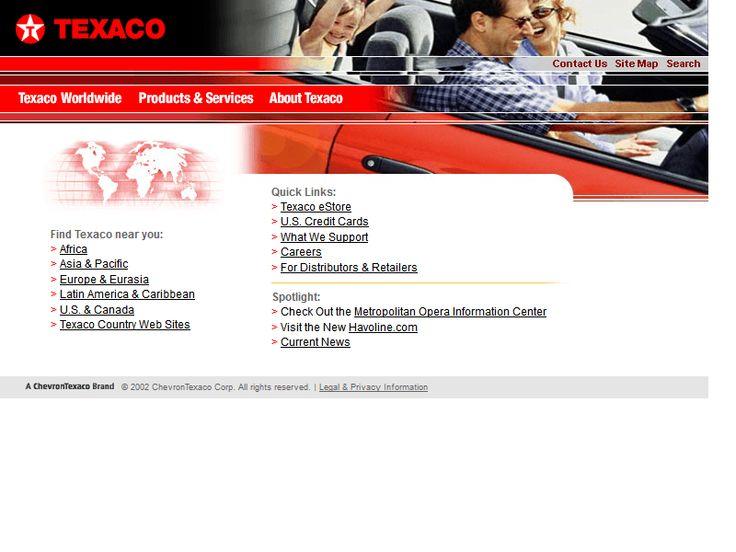 Texaco website in 2003