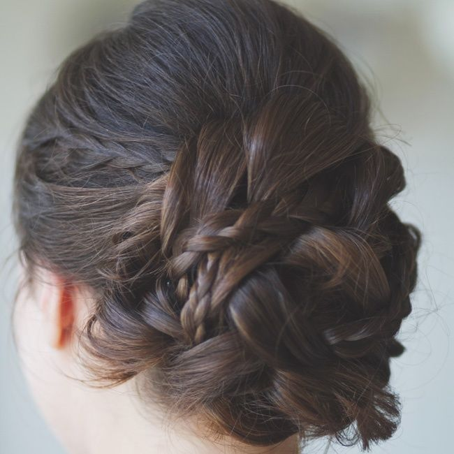 Braided updo // photo by: Closer to Love Photography // Hair Stylist: Beauty and the Beach- OC More: http://www.theknot.com/weddings/album/a-rustic-romantic-wedding-in-fullerton-ca-127072