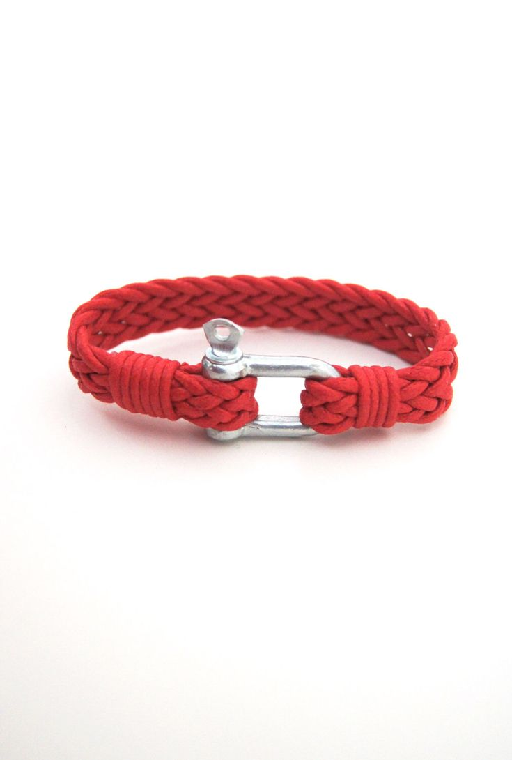 FREE  Shipping Men's Red Bracelet Simple  Bangle Shackle Nautical  Bracelet,  Paracord Bracelet, Mens Jewelry, woven cord Bracelet, by ArtofAccessory on Etsy https://www.etsy.com/listing/231801446/free-shipping-mens-red-bracelet-simple
