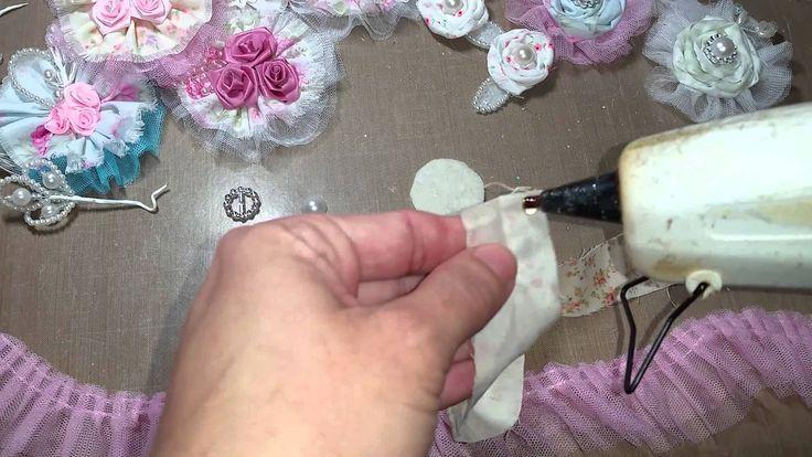 TUTORIAL - Super cute and easy fabric flower * Geduld ! :-) am anfang schöne beispiele, dann ab 5 min. die schöne gerollte fabricblume plus tüddel danach <3