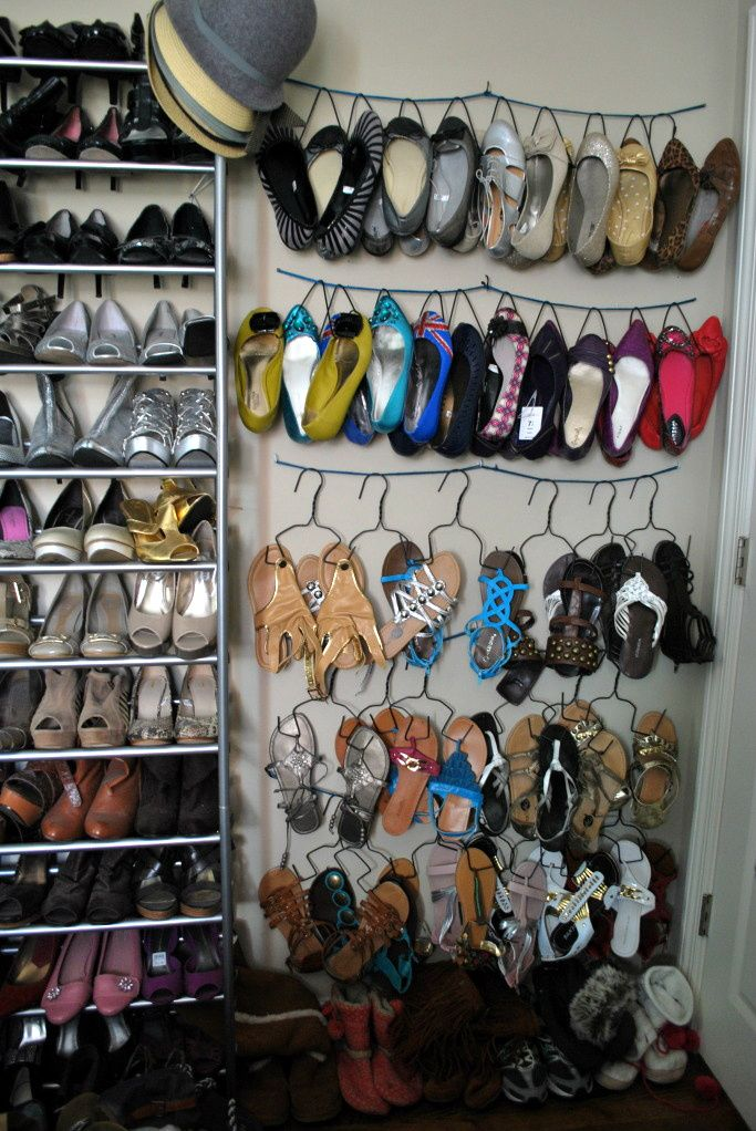 DIY: SHOE HANGERS made from wire hangers. So smart and great way to organize your shoes in a closet.