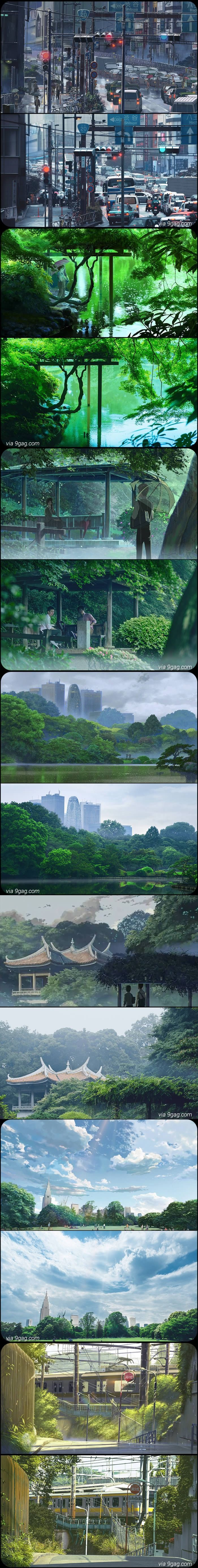 Animation Background vs Real Life- Garden Of Words - Makoto Shinkai
