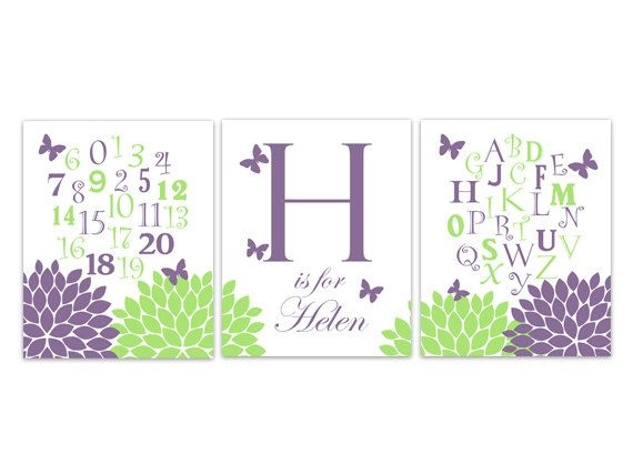 Nursery Wall Art, Nursery Alphabet, Purple and Green Nursery Decor, Alphabet Poster, Personalized Kids Wall Art, Kids Name Art - KIDS177 by WallArtBoutique on Etsy https://www.etsy.com/listing/209148463/nursery-wall-art-nursery-alphabet-purple