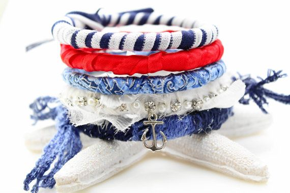 Nautical Red White and Blue Bracelets  Fabric by WrappedInLeather, $42.95
