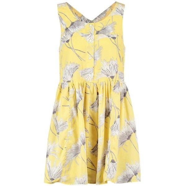 CHRISSIE Summer dress timpani lemon ($7.71) ❤ liked on Polyvore featuring dresses, summer dresses, day summer dresses, beige dress, beige summer dress and summery dresses