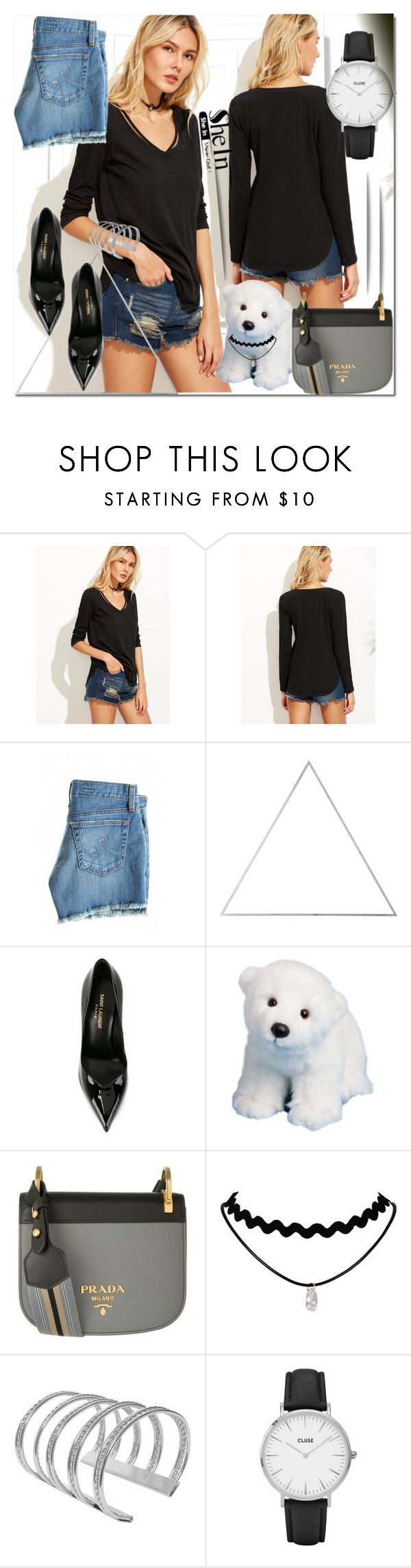 """T-shirt-shein"" by ilona-828 ❤ liked on Polyvore featuring AG Adriano Goldschmied, Menu, Yves Saint Laurent, Prada, CLUSE, polyvoreeditorial and shein"