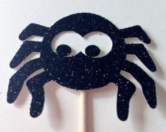 12 spider Glitter Cupcake Toppers - festa di Halloween - decorazioni - spettrale