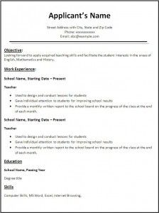 template for teacher resumes