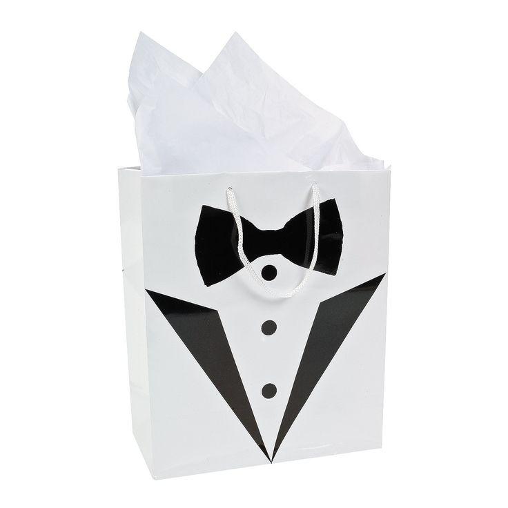 Medium Tuxedo Wedding Gift Bags - OrientalTrading.com