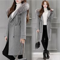 Women Autumn Wool Coat With Faux Fur Hooded Solid Color Female Autumn Woolen Blends Coat Female Abrigos Mujer A2658