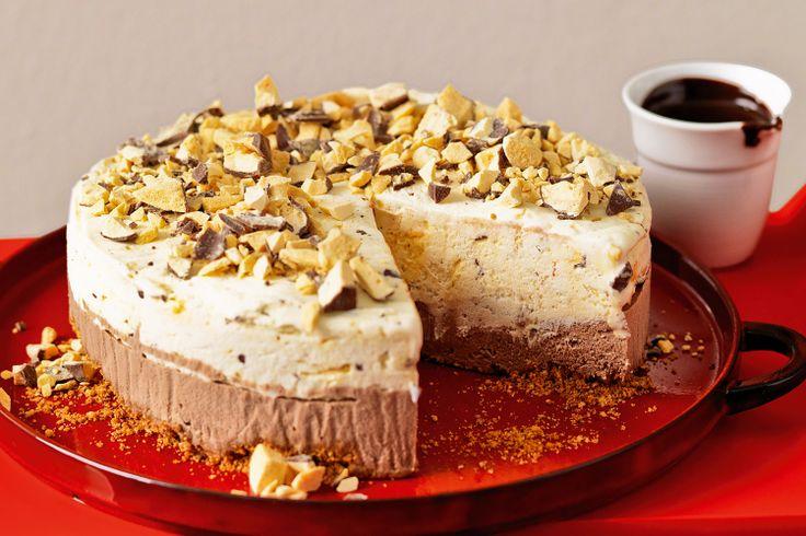 Chocolate and honeycomb ice cream cake with hot fudge sauce