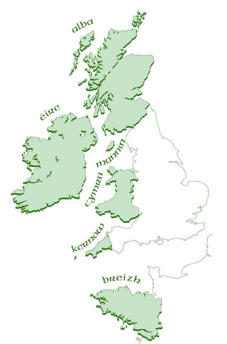 the Celtic countries: Scotland, Ireland, Isle of Man, Wales, Cornwall, Brittany