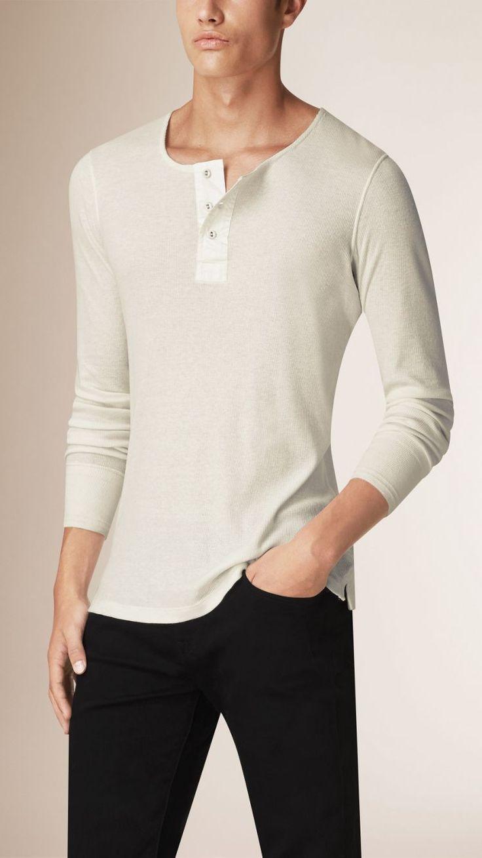 Serafino a maniche lunghe in cotone e lana