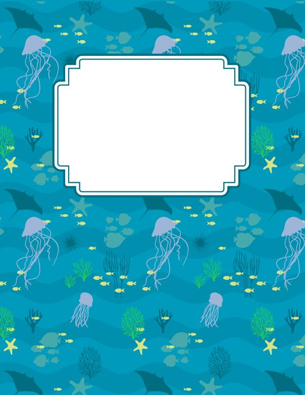 Free printable ocean binder cover template. Download the cover in JPG or PDF format at http://bindercovers.net/download/ocean-binder-cover/
