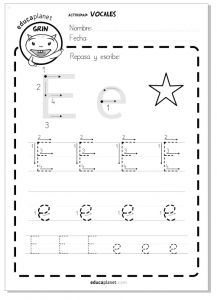 vocales ficha worksheet E e