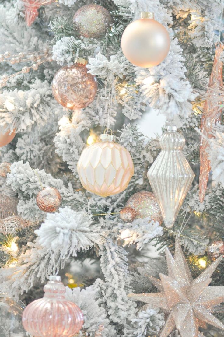 Germanic paganism amazing tabletop christmas trees decorating plan - Blush Pink And White Flocked Vintage Inspired Christmas Tree By Kara S Party Ideas Kara Allen