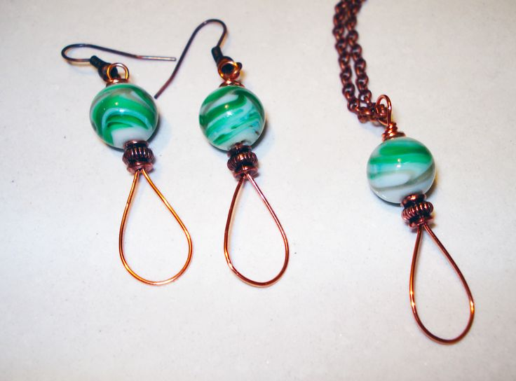 Copper Wire Set with Ceramic Beads by IALINA
