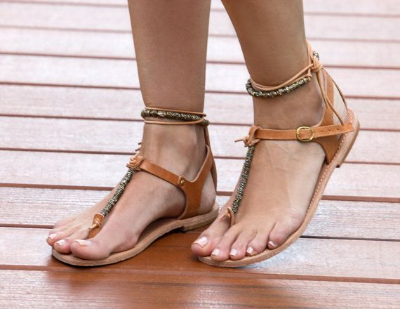 FREE SHIPPING-Mykonos/Natural A  feminine leather sandal with gold beads and leather lacing.  This is the perfect sandal for a night out