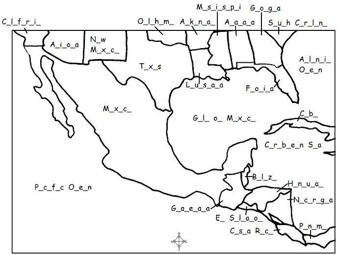 MEXICO - Printable map - Fill in the blanks | NORTH AMERICA ... on costa rica map central america, map mexico vacation resorts, map of mexico and bahamas, map of central america states, map of belize and mexico, physical map of central america, highway map of central america, detailed map of central america, map of mexican resorts, map of mexico and puerto rico, map of south america, honduras map central america, map of central american capitals, map of mexico and panama, map of central puerto rico, map of europe, map of the caribbean islands, map of continents, north america, map of canada,