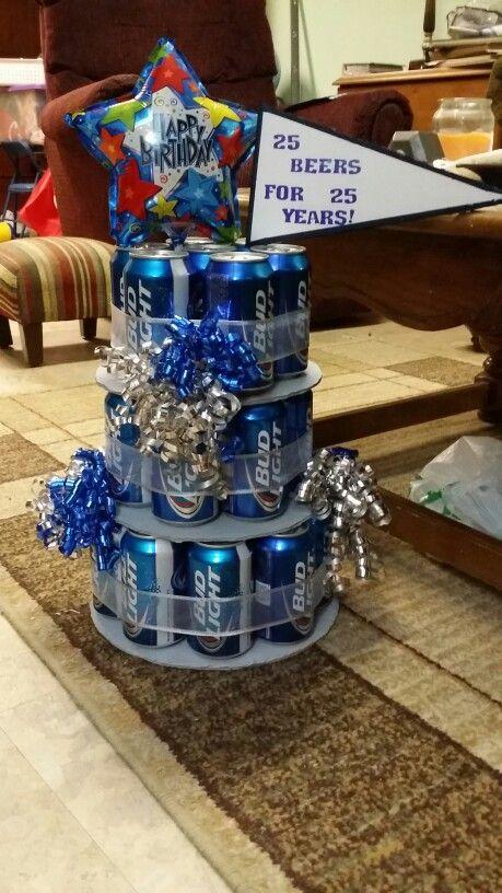 Beer Cake! 25 beers for 25 years! Man's birthday cake! Diy!