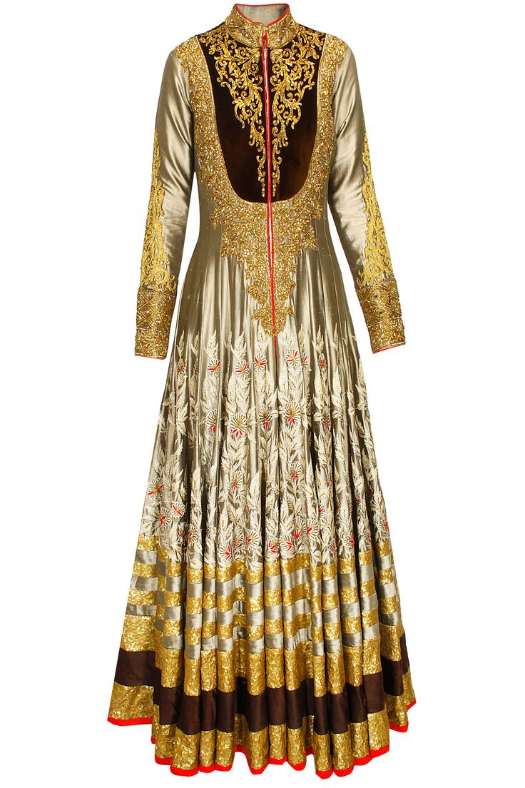Grey embrodiered anarkali with brown churidaar and cream dupatta available only at Pernia's Pop-Up Shop.