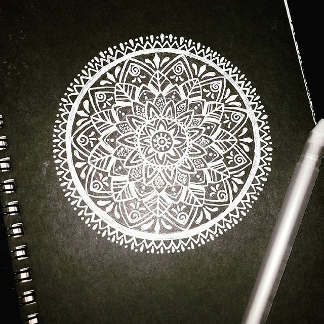 White Mandala On Black Paper
