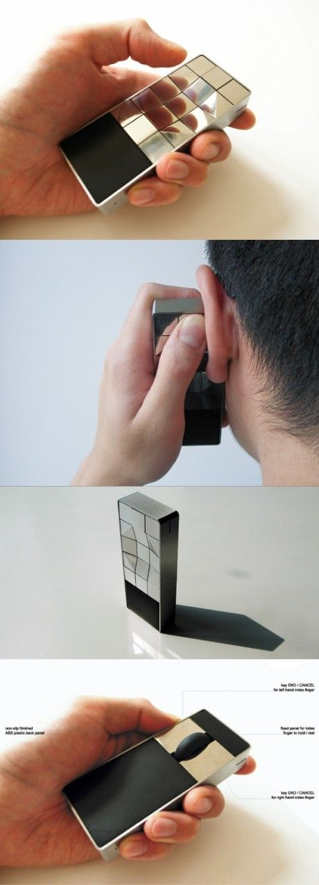 Tactile concept cell phone for the blind - Hong Kong designer Peter Lau has designed a tactile mobile phone for the blind. Without screen, the cell phone using an ergonomic design of recessed keyboard.