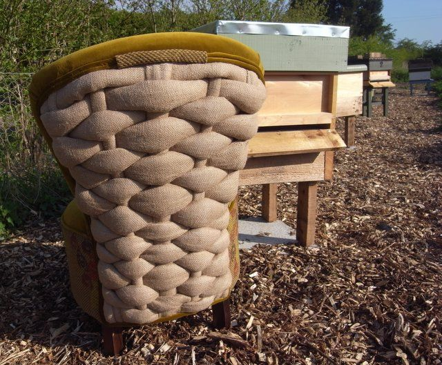The back of the Beekeeper's is chair based on traditionally woven skeps. Created by Boxinghare