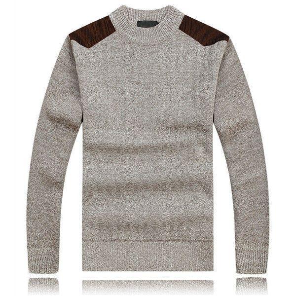 Mens Thick Sweaters Casual Knitting Splicing Shoulder Pullovers at Banggood