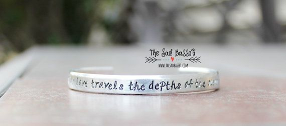 Our Love Travels the Depths of the Ocean | Hand Stamped Submarine Bracelet | Military Jewelry | Submariner Jewelry | USN Bracelet | Cuff