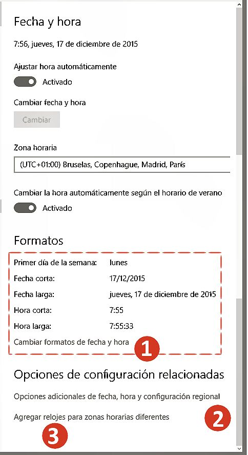Configurar la fecha y hora en Windows 10