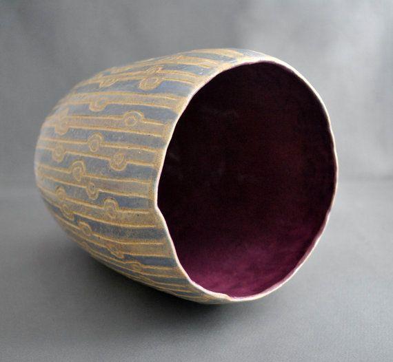 Twilight in the Park  handmade ceramic vase earthenware