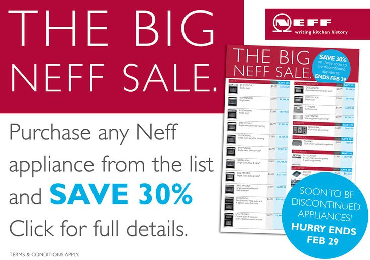 The Neff Big Sale  Whatever you want for your kitchen there's a Neff appliance that truly meets your needs. Save up to 30%*. -  https://v3.server-builder.com/Sites/cbbe0a55-04c3-4d83-a652-467fb2ab4754/page33.aspx