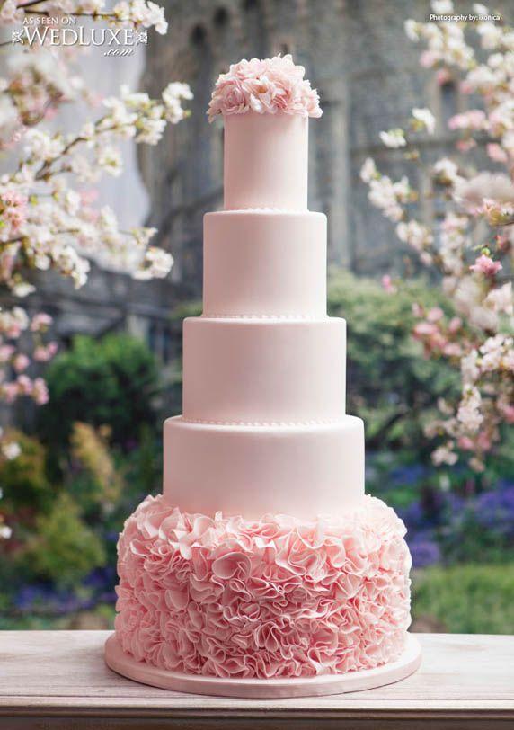 Pink Ruffles Tall Wedding Cake