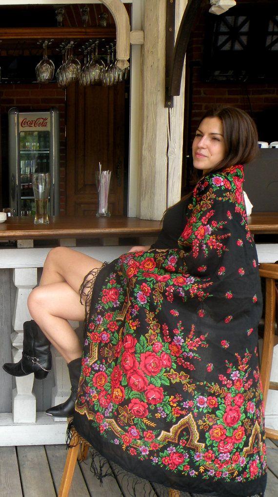 Vintage Black Russian Babushka Wool Scarf /Shawl by RollingClothes, $68.00