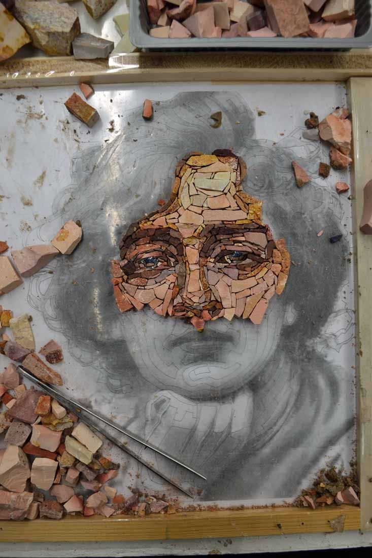 Creating a portrait with marble is surely the most fascinating thing I have been doing until now here at the mosaic school in Spilimbergo.