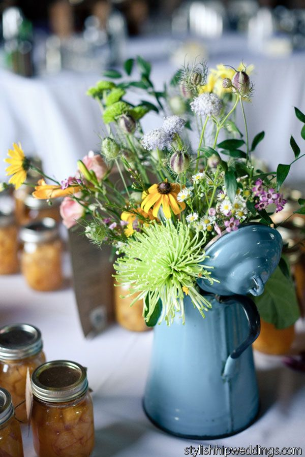Rustic Wildflower Centerpiece in a Vintage Coffee Pot  Photographed by @stylish hip weddings  BloomsByTheBox.com