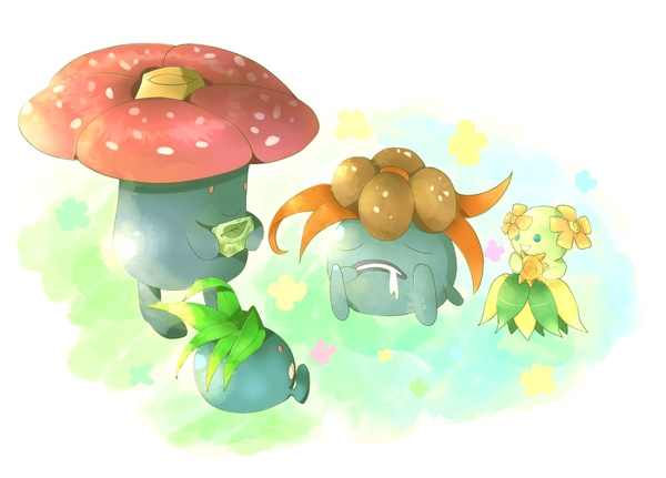 Oddish, Gloom, Vileplume or Bellossom (Gloom can become Vileplume with a leaf stone or Bellossom with a sun stone)