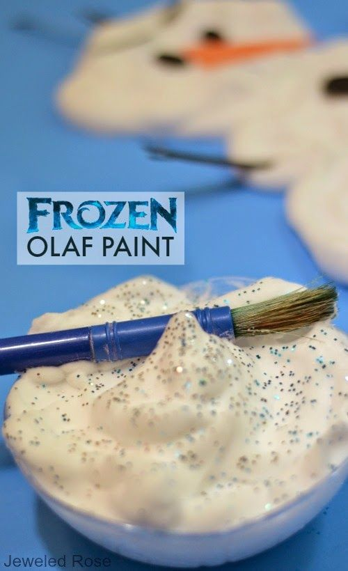 """Create your own """"Frozen"""" Olaf the snowman paint using Elmer's School Glue, shaving cream, and glitter! The paint dries puffy, making it look like real snow! #Frozen #snowman #kidscraft"""