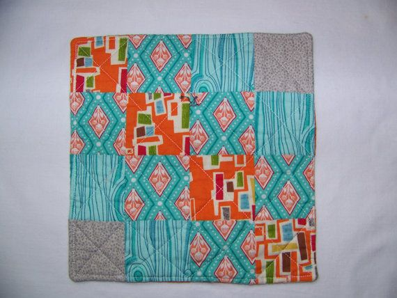 Reversible Scrappy Modern Mug Rug or Coaster in by Scrappyquilter