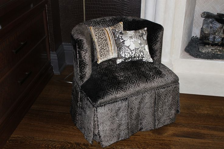 Chenille cover, custom made chair with decorative pillows.