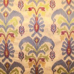 Fairytale Maroon Embroidered Ikat Drapery Fabric - Drapery Fabrics at Buy Fabrics