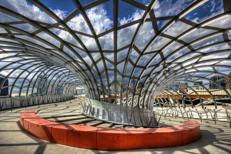Melbourne Webb Bridge designed by Denton Corker Marshall ~ #Melbourne #Australia