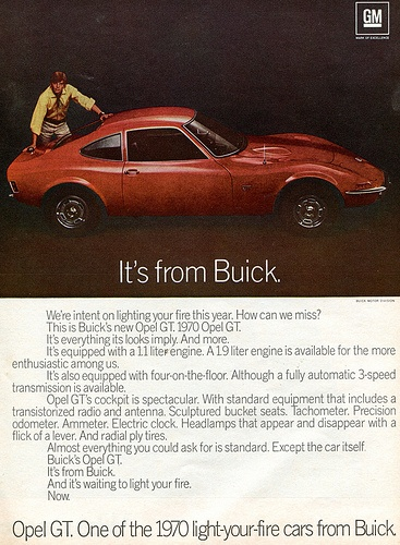 1970 Buick Opel GT Advertising Newsweek December 1969