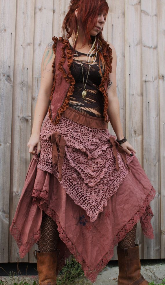 vintage antique tattered fairy gypsy swirl long fishtail pirate style romantic skirt in crochet plum handdyed lace and cotton embroidery
