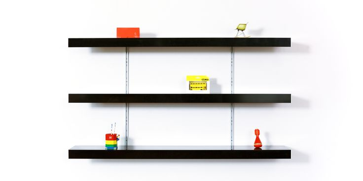 Keep it simple! Use our black shelving system and aluminium fixings to bring simple made to measure shelving into your space. Perfect for any modern home, office or retail space. Visit our website for free planning and design advice.