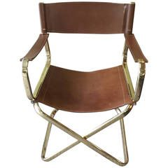 Charming Mid Century Italian Designed Leather Folding Directoru0027s Chair By Arrben