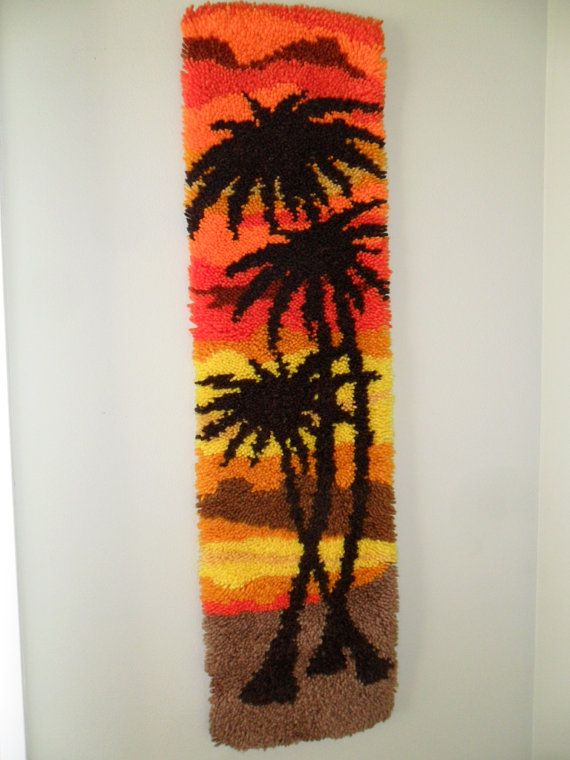 Vintage Latch Hook Wall Hanging Rug RETRO 1970s Palm by KathiJanes, $39.95