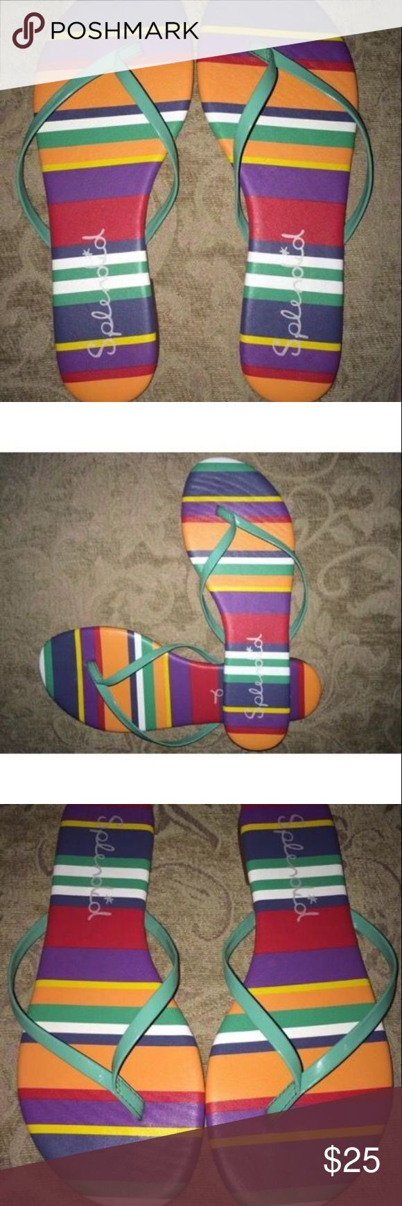 Splendid Multicolor Madrid Thong Flip Flops These Splendid flip flops have a thin padded footbed.  They are a size 7 and in great condition.  I'm selling these for one of my daughters so no trades please.  Great everyday flip flops.  I believe retail was $49.99 for these. Splendid Shoes Sandals