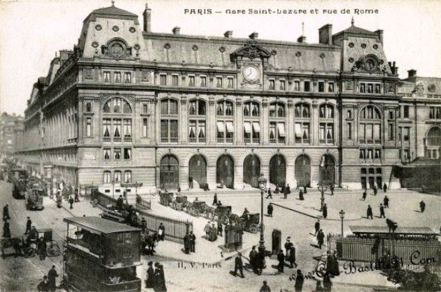 Paris, France - Gare Saint-Lazare et rue de Rome -la carte postale ancienne - a monumental 2nd Empire station with classical façades,  platforms covered with a glass canopy &  the different buildings linked by a glass-r